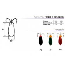Мормышки вольфрамовые SPIDER черт с флоком в Москве купить