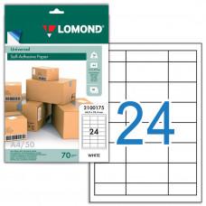 Этикетка самоклеящаяся Lomond 64,6х33,4 мм 50 листов по 24 шт белая 2100175 в Москве