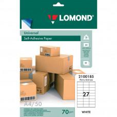 Этикетка самоклеящаяся Lomond 70х32 мм 50 листов по 27 шт белая 2100185 в Москве