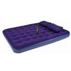 Надувная кровать Relax Flocked air bed QUEEN  насос+2подушки 21470 в Москве купить