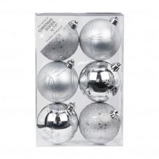 Набор ёлочных шаров INGE'S Christmas Decor 81190G002 d 8 см, серебро (6 шт) в Москве